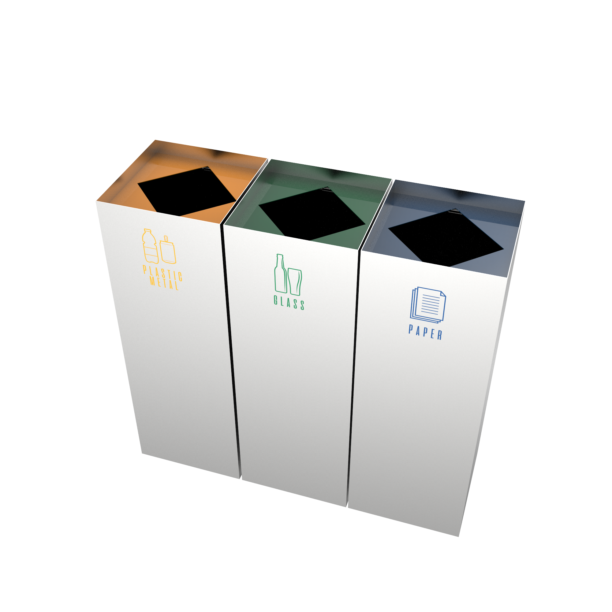 cimon sst set of recycle bins made of stainless steel